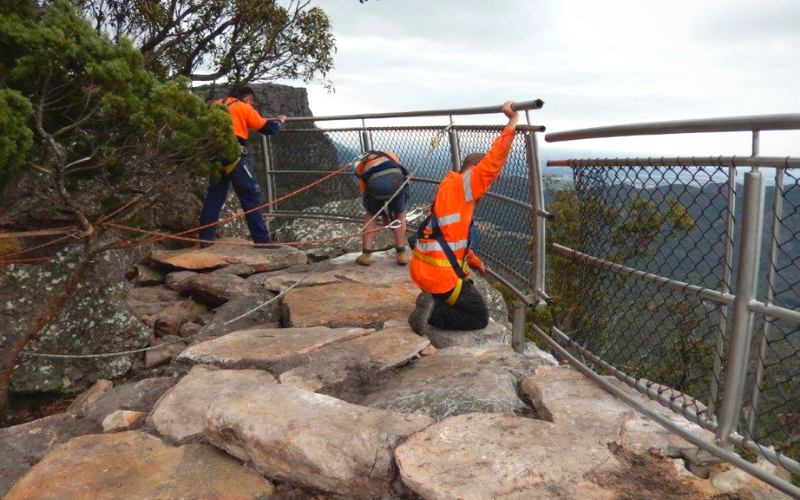 Ricksteel Fabrications Stawell - Team installing Safety barrier - Remote and work at heights